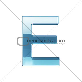 3d render of glass glossy transparent alphabet letter symbol - E