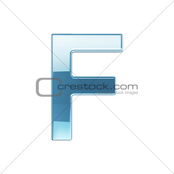 3d render of glass glossy transparent alphabet letter symbol - F