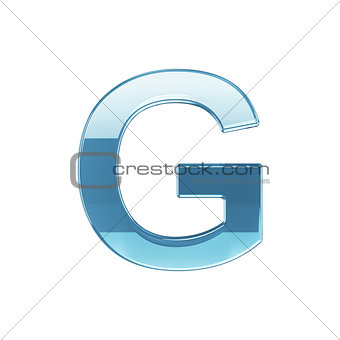 3d render of glass glossy transparent alphabet letter symbol - G
