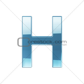 3d render of glass glossy transparent alphabet letter symbol - H