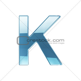3d render of glass glossy transparent alphabet letter symbol - K
