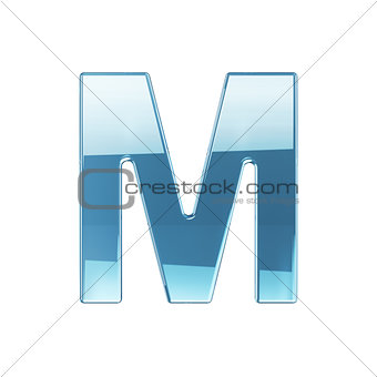 3d render of glass glossy transparent alphabet letter symbol - M
