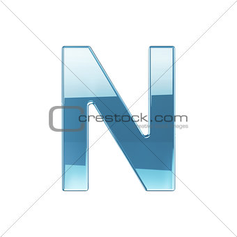3d render of glass glossy transparent alphabet letter symbol - N