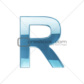 3d render of glass glossy transparent alphabet letter symbol - R