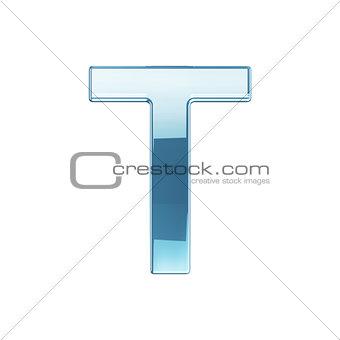 3d render of glass glossy transparent alphabet letter symbol - T