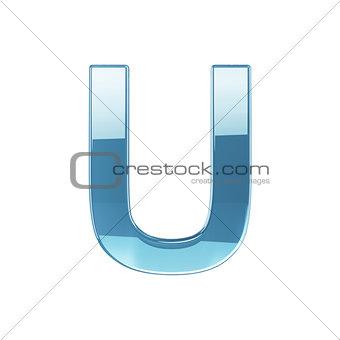 3d render of glass glossy transparent alphabet letter symbol - U