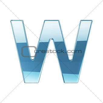 3d render of glass glossy transparent alphabet letter symbol - W
