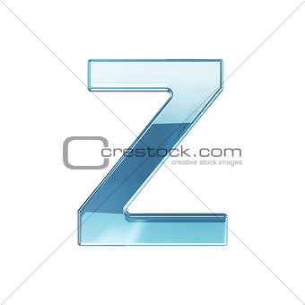 3d render of glass glossy transparent alphabet letter symbol - Z