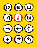 hand drawn media player buttons set