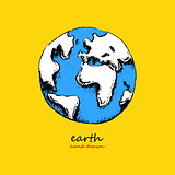 Earth hand drawn vector illustration