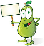pear cartoon isolated on white background with signboard
