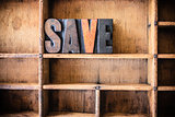 Save Concept Wooden Letterpress Theme