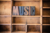 Music Concept Wooden Letterpress Theme