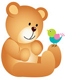 Teddy bear with bird
