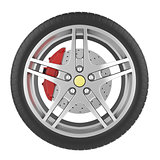 Sport car wheel isolated on a white background