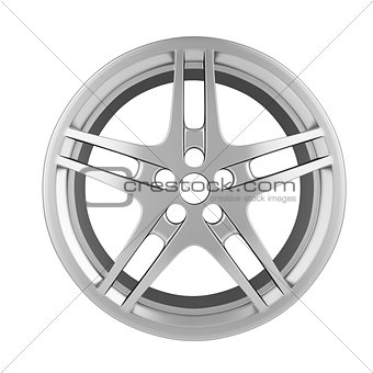 Car Chrome wheel isolated on white background.