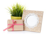 Photo frame, flower and gift box