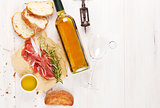 Prosciutto, wine, ciabatta, parmesan and olive oil