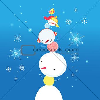 bright funny snowman