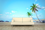 photo wall mural palm beach sofa floor