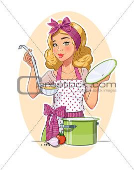 Housewife girl cooking food