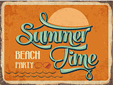 "Retro metal sign "" Summer time"""