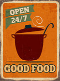 "Retro metal sign "" Good food"""