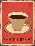 "Retro metal sign "" Coffee time"""