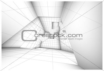 3d futuristic labyrinth shaded vector interior illustration