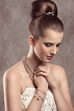 elegant girl with pearls