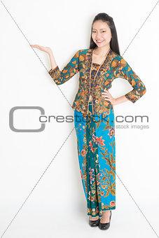 Asian girl presenting