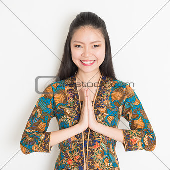 Asian girl greeting