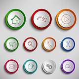 Round color buttons icons design template