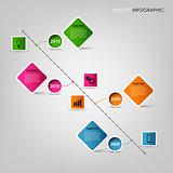 Time line info graphic square design element template