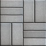 Gray Pave Slabs Rectangles Arranged Perpendicular to Each other Two or Three Pieces.