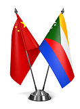 China and Comoros - Miniature Flags.