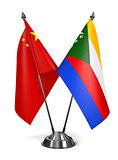 China and Comoros - Miniature Flags.