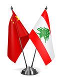 China and Lebanon - Miniature Flags.