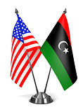 USA and Libya - Miniature Flags.