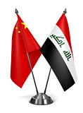 China and Iraq - Miniature Flags.