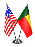 USA and Benin - Miniature Flags.