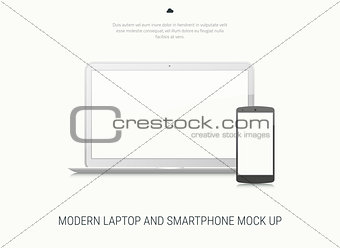Blank laptop and smartphone mock-up