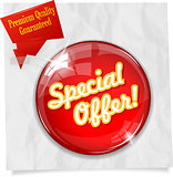 Vector red round Special Offer button