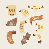 Collection of sale discount origami styled website ribbons