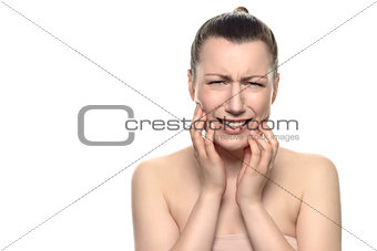Crying young woman Suffering From Toothache