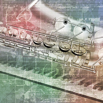 abstract grunge background with saxophone and piano keys