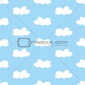 Tile vector pattern with white clouds on blue sky background.