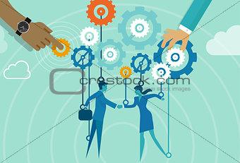 business gear men women handshake metaphor