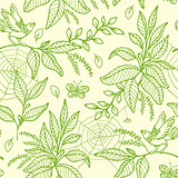 Green seamless pattern with plants and birds