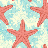 Seamless pattern with sea shells and starfish